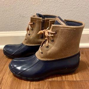 Sperry Tan & Blue Duck Boots 7